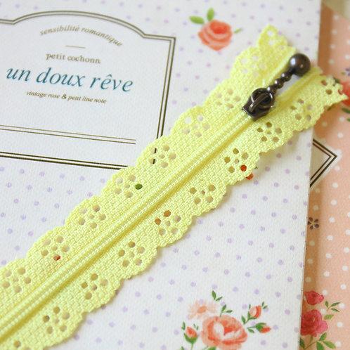 pale yellow flower lace zipper