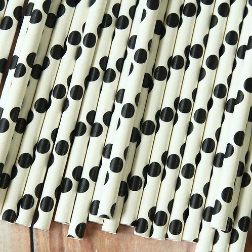 black big dots paper straws