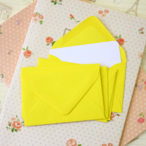 daffodil yellow colour mini envelopes & note cards