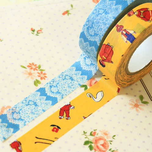 yellow & blue classiky yonagado cartoon washi tapes
