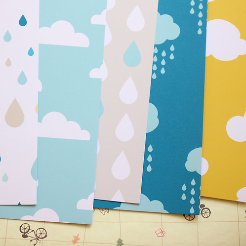set 01 rain and clouds mix printed card stock
