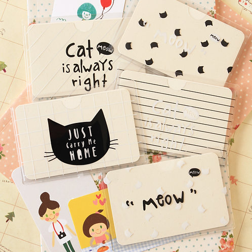 meow cat cartoon card holder
