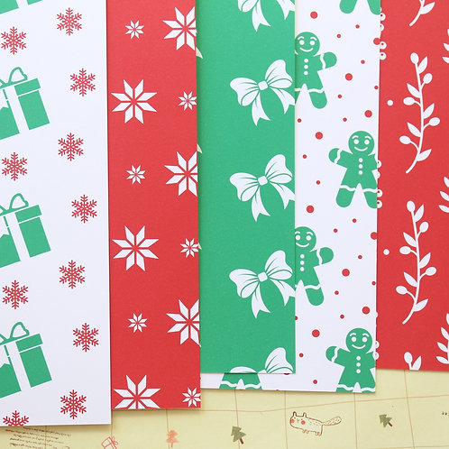 set 03 red and green christmas mix printed card stock
