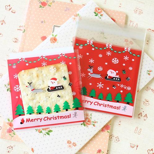 santa's sleigh christmas cartoon plastic bags