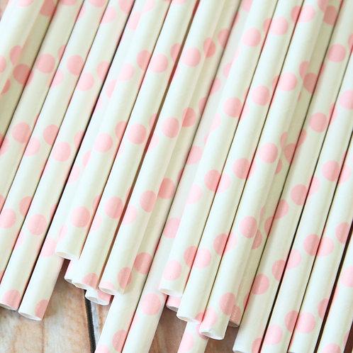 light pink big dots paper straws