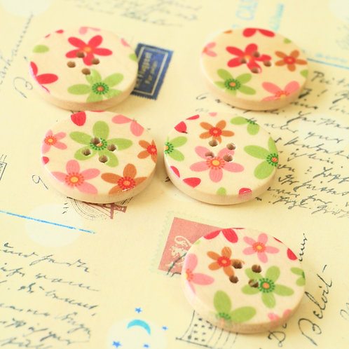 cream flowers printed wooden buttons
