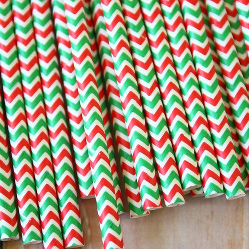 red & green double chevron paper straws