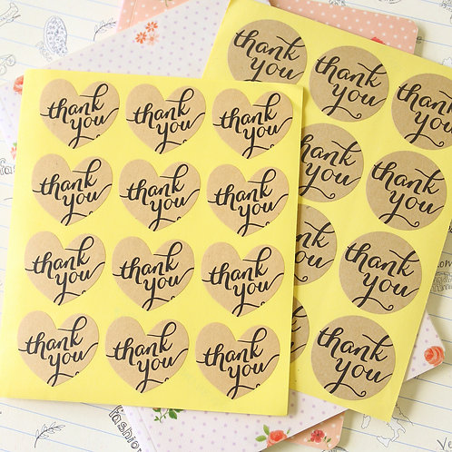 thank you shapes kraft brown sticker seals