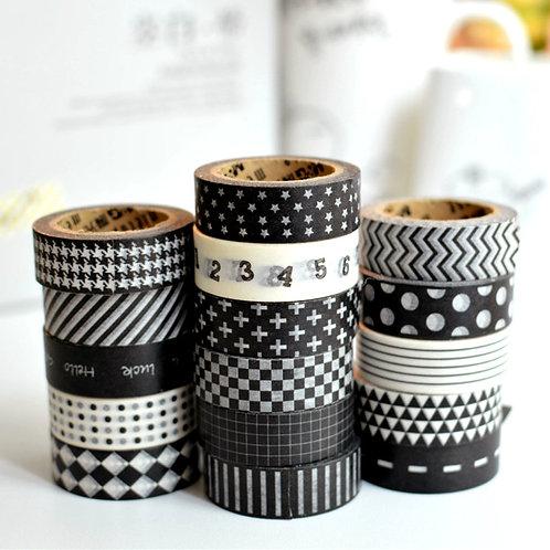 meetape black & white deco washi tapes
