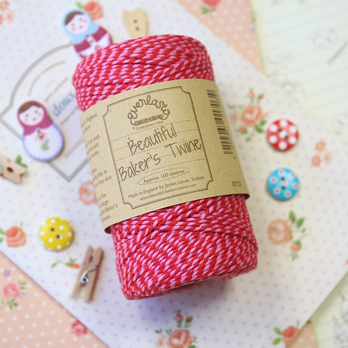 red pink - valentines everlasto two tone bakers twine
