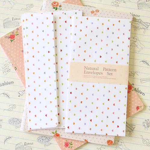 tiny hearts natural pattern envelopes