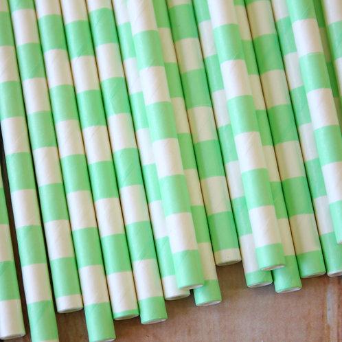 light green circle stripe paper straws
