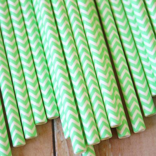 light green chevron paper straws