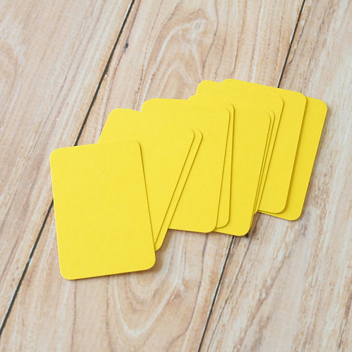 bright yellow blank business cards