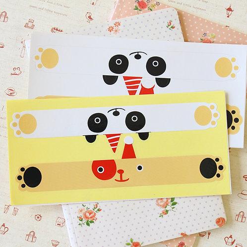party bear & panda wrap around sticker seals