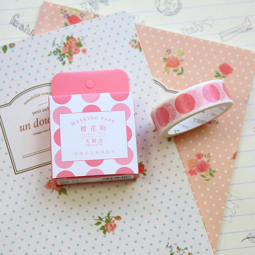 pink big dots cardlover simple series washi tape