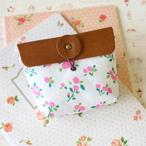 lifestyle floral linen coin bag purse