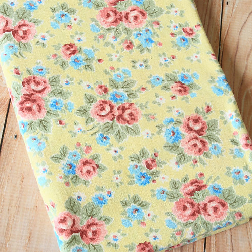 yellow shabby floral cotton linen blend fabric
