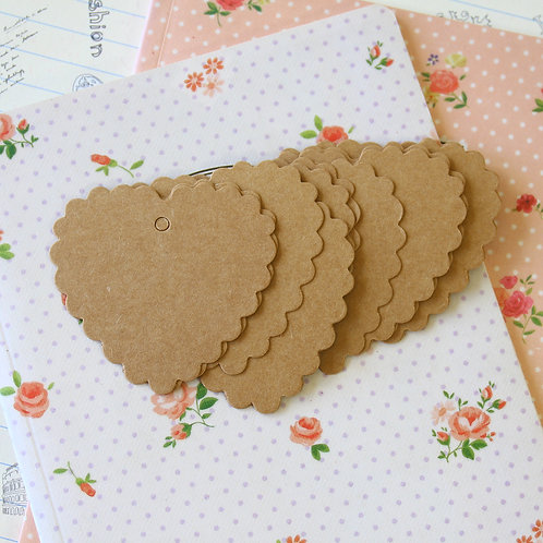 diy collection kraft brown scallop heart tags