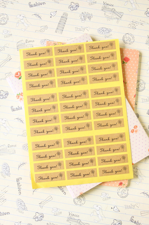 thank you with little flower printed sticker seal labels