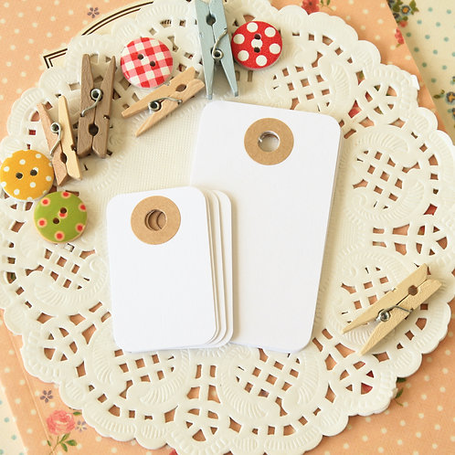 cotton white rounded rectangle tags