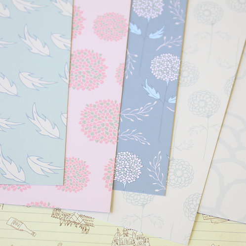 set 02 floral dream mix printed card stock