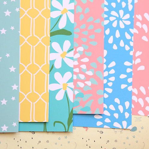 set 02 spring flowers mix printed card stock
