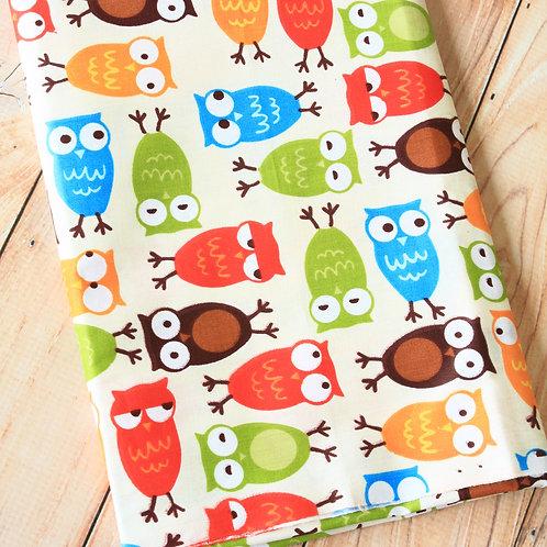 hoot owls cartoon cotton fabric