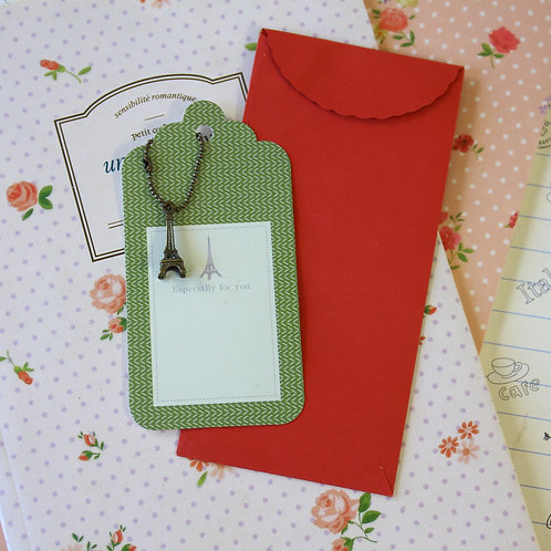 eiffel tower charm and scallop gift tag