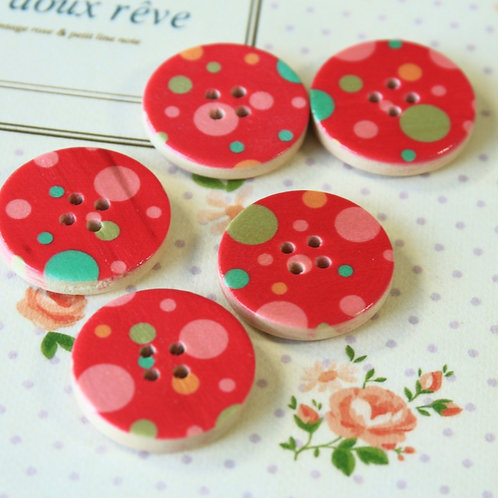 red polka dot printed wooden buttons