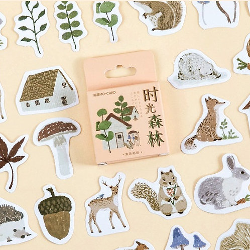 time forest mo-card cartoon shapes stickers