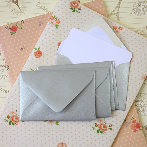 metallic silver grey lustre mini envelopes & note cards