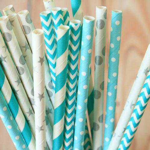 snow princess mix paper straws
