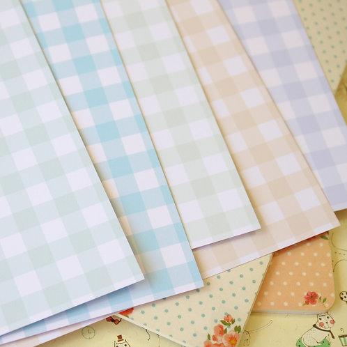 set 01 pastel gingham mix printed card stock