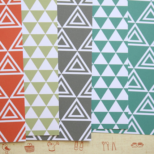 set 02 tribal pyramid triangles printed card stock