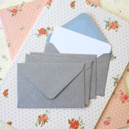 silver textured mini envelopes & notecards