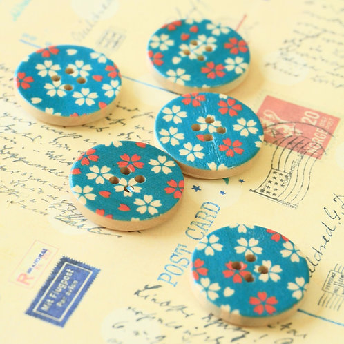 blue flowers printed wooden buttons