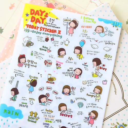 day & day today pony brown girl cartoon stickers