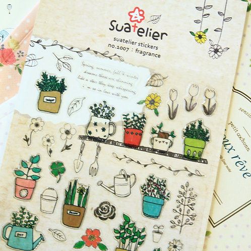 suatelier fragrance plant pots cartoon puffy stickers