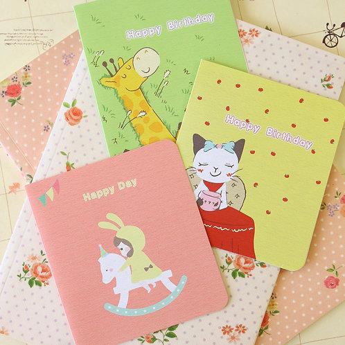cute cartoon greeting cards horse cat giraffe