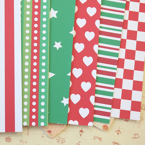 set 06 christmas patterns printed card stock
