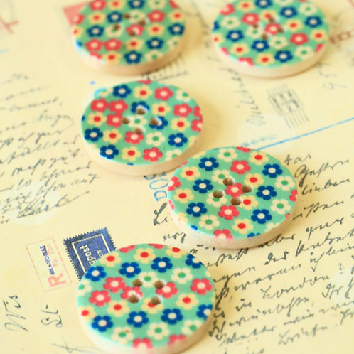light blue flowers printed wooden buttons