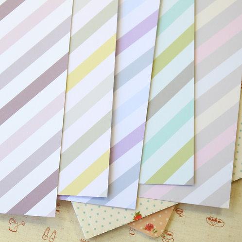 set 02 pastel ice cream stripes mix printed card stock