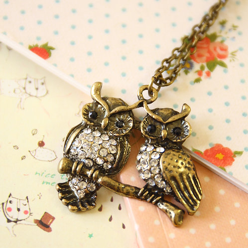 owl pair novelty necklace