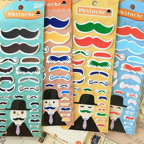 happiness mustache cartoon puffy stickers