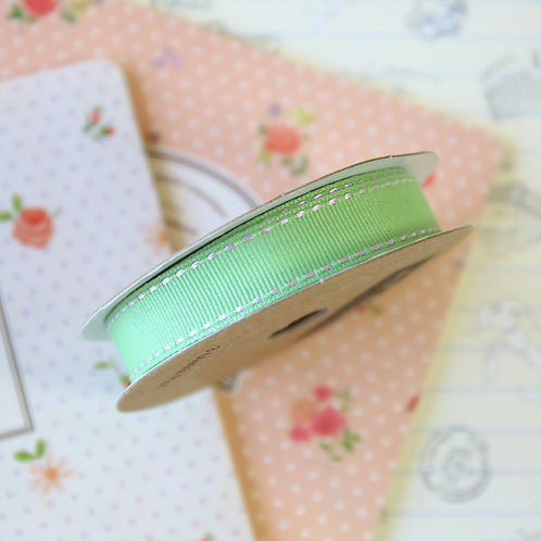 jane means peppermint green stitched grosgrain ribbon