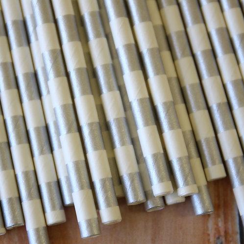 metallic silver circle stripe paper straws