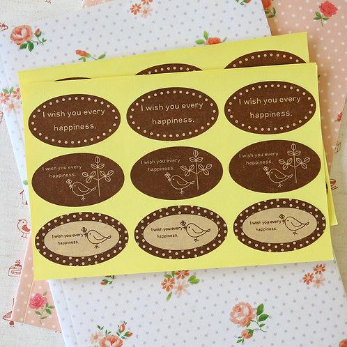 oval lovely bird kraft sticker seals