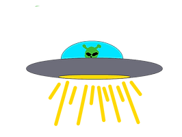 A green alien peers out from within a flying spaceship