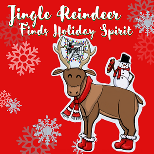 A cartoon reindeer and his snowman friend smile at the viewer; the title Jingle Reindeer Finds Holiday Spirit stands against the red background with snowflakes